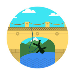Flat icon for extreme sport. Rope jumping.