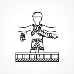 Abstract icon for extreme sport. Rope jumper.