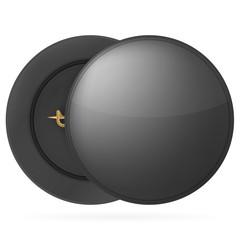 Illustration of black round pin badge
