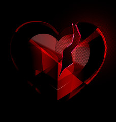 broken heart-crystal with black veil