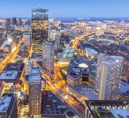 Aerial View of Boston in Massachusetts, USA at Sunset