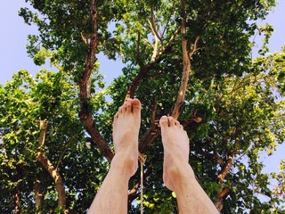 my feet point up to sky