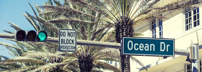 Panoramic view of Ocean Drive street sign