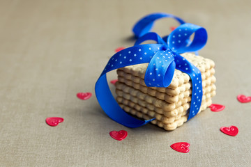 Cookies with blue ribbon
