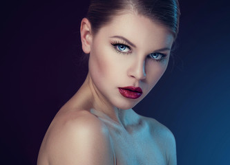 Beauty portrait of stylish female with professional makeup