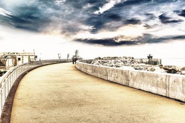 Walking in the harbor