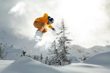 fototapeta snowboard wyskok