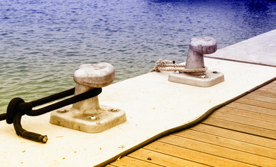 Two bollard on the dock