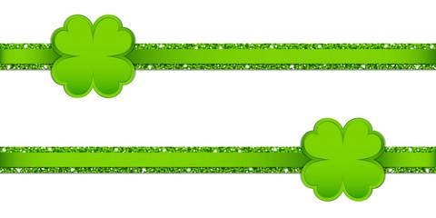 2 Clover Double Glitter Ribbon Horizontal Light Green