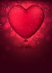 Classical magenta balloon heart background.