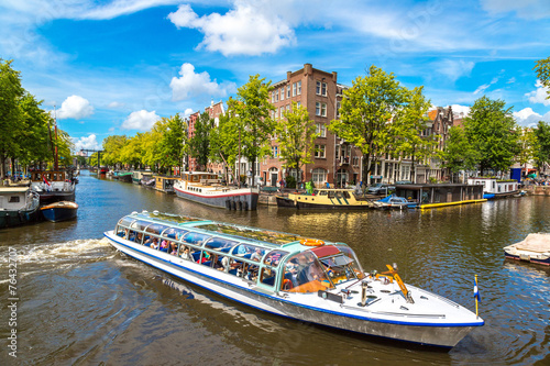 Aluminium Amsterdam Amsterdam canals and boats, Holland, Netherlands.