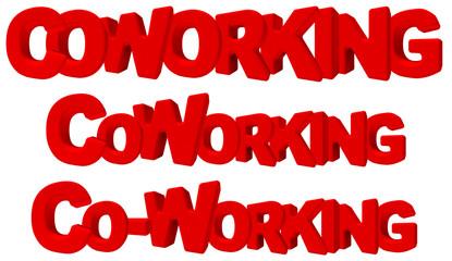 coworking lavoro parola 3d rossa, isolata su fondo bianco