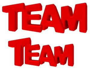 Team gruppo parola 3d rossa, isolata su fondo bianco