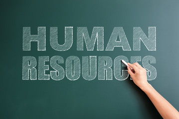human resources written on blackboard