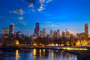 Chicago skyline at dusk, IL, United States
