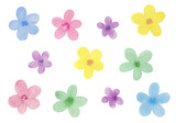 花模様 水彩イラスト