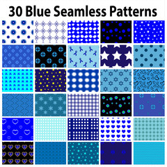30 Blue Seamless Patterns