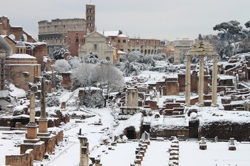 The Roman Forum under snow. Rome, Italy