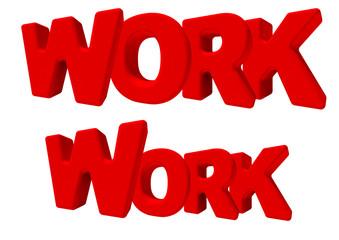 Work lavoro parola 3d rossa, isolata su fondo bianco