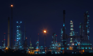beautiful night scene landscape of oil and gas refinery factory