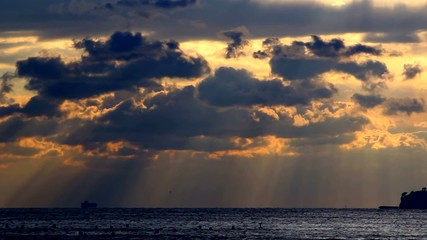 Gloomy seascape and heavy clouds