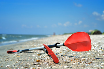 Kayak Paddles on the sand