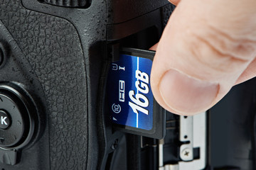Flash card SD and DSLR camera