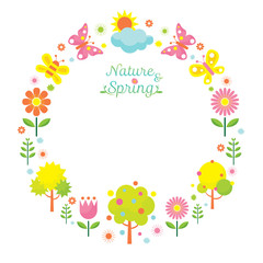 Spring Season Object Icons Wreath