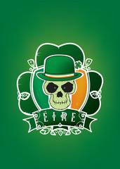 Lucky Irish skull.St.Patrick day illustration vector