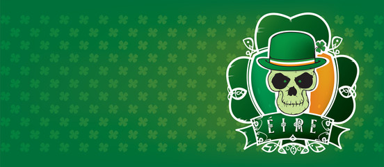 Lucky Irish skull.St.Patrick's day illustration vector