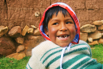 Aymara boy laughing