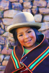 Aymara girl in traditional clothes