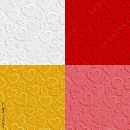 Obraz na Szkle Set of seamless patterns with hearts