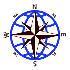 Wind rose against of the globe.