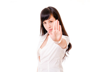Asian woman showing no hand gesture