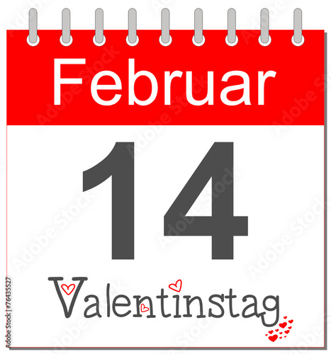 date sheet of valentine day 2018 - inne kalendarze obrazy na płótnie fototapety na ścianę