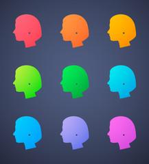 female head silhouette  set