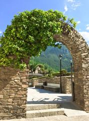 Stone arch in the historic center of Andorra La Vella