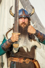 Strong viking with his sword