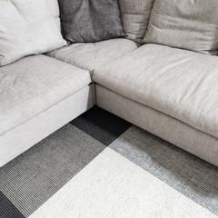 Gray corner sofa and carpet