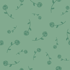 Roses seamless pattern. Sketch design elements.