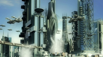 Alien planet city skyscrapers and hoovering aircrafts