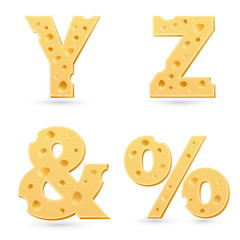 Set of cheese letters.