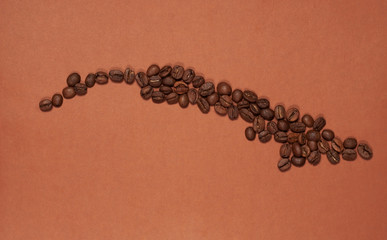 Cuba map made of coffee beans
