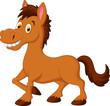 Cute cartoon brown horse - 76437595