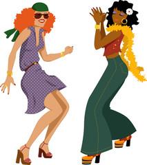 Disco girls dancing