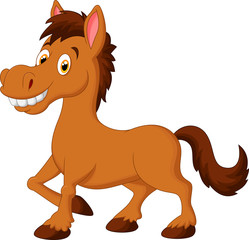 Cute cartoon brown horse
