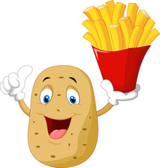 Cute potato holding a french fries give thumb up