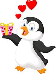 Cartoon penguin holding gift