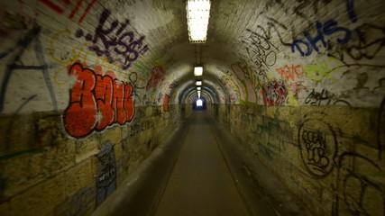 Urban underground tunnel with glidecam